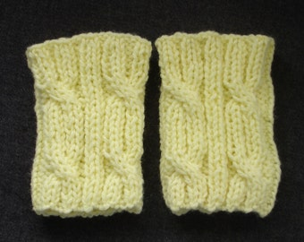 """New Handmade Pale Yellow Cabled Knit Boot Cuffs - Small - 12"""" Calf"""