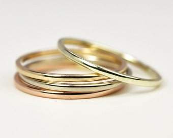 Stacking Gold Rings, Set of Four 1mm by 1mm Simple Skinny Rings, 14K Rose Yellow Palladium White Green, Sea Babe Jewelry