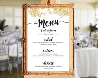 Wedding menu - wedding dinner menu - printable wedding menu - wedding menu sign - PRINTABLE 24x36 - 18x24 - 16x20