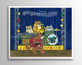 Rock 'n' Roll Cats – The Red Guitar | Art Print | Whimsical Cat Musicians Rockin' on Stage