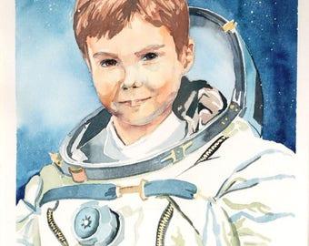 Custom Child Portrait in the Form of Astronaut, Superhero, Favorite Character