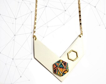 Contemporary Chevron Minimalist necklace, Geometric Pendant, Gold, Modern design, Minimalism, Hexagon, Polygon, Collar