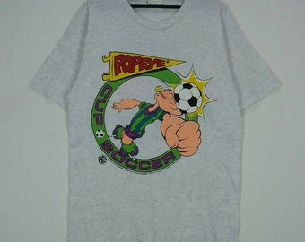 Rare!! Vintage POPEYE T-shirt nice design Cup Soccer grey colour large size