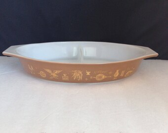 Vintage Casserole Dish, Brown Pyrex Divided Dish, 'Early 'American' Pattern