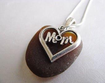 Mom Heart - Mothers Sea Glass Necklace- Mom Charm- Beach Glass Jewelry-Amber Brown Sea Glass -Prince Edward Island Sea Glass- Pure Sea Glass