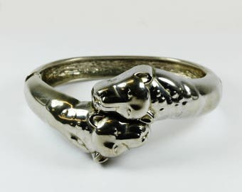 Art Deco Style (1920-1935) Sterling Silver Twin Lion Head Spring Hinge Bangle