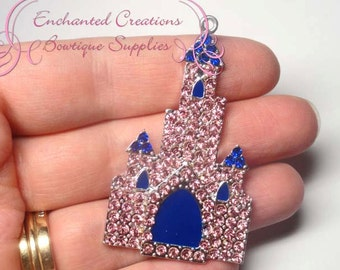 Pink and Blue Castle Charm, Rhinestone Chunky Pendant, Keychain, Bookmark, Zipper Pull, Chunky Jewelry, Purse Charm