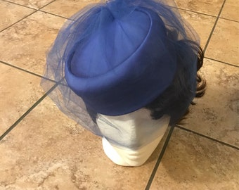 Vintage royal blue hat with netting