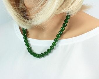Handmade Nephrite Jade, Necklace, Jade and Gold, Jade Necklace, Hand Knotted Jade, Jade Jewelry, Jade Bridal Necklace, Jade Gift, Bridesmaid