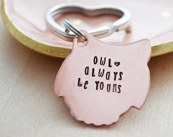 Owl Always Be Yours Key Ring - Owl Keychain - Valentine's Day Keychain - Copper Owl - Hearts - Couples Keychain