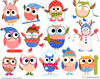Winter sport owl Digital clip art for Personal and Commercial use - INSTANT DOWNLOAD