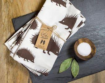 Cloth Napkins - Set of 4 - Espresso Hedgehog - GOTS Certified - Organic Dinner Napkins - Table Napkins - Everyday Napkins - Hedgehogs