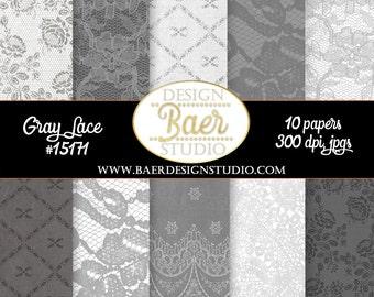 GRAY DIGITAL PAPER:Lace Digital Paper, Gray Lace Digital Paper, Wedding Digital Paper, Grey Lace Digital Paper, Hochzeit, Dentelle, #15171