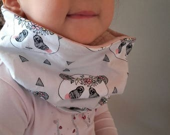 Neck circumference for girls 2 to 5 years Jersey printed taupe pandas
