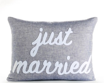 Just Married 14X18 Linen Pillow