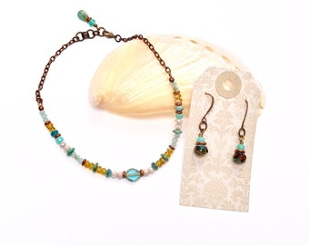 Teal Anklet Set, Ankle Bracelet and Earrings, Summer Jewelry Gifts