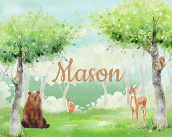 Woodland Animals Creatures Personalized Backdrop, Custom Name, Party, Cake Smash, Party, Shower, Cake Table, Baby, 1st Birthday Background