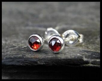 January birthstone earrings - Natural red garnet gemstone rose cut cabochon, 4mm,  sterling silver bezel, second earrings, 237