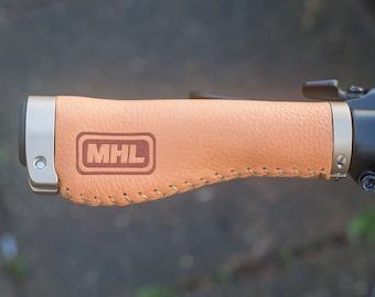 135mm Ergonomic Italian Leather Grips in ORANGE Handlebar Bicycle Bike Grips