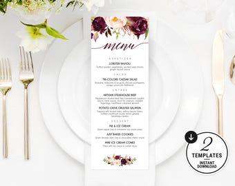 Printable Wedding Menu, Burgundy Wedding Menu Template, Marsala Wedding Menu, Floral Menu, Wedding Menu Template, Wedding Menu Card