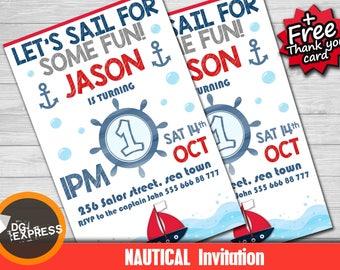"Nautical Invitation - ""NAUTICAL BIRTHDAY Invitation"" Navy Red Sail Boat Birthday Party Printable, Boy Sailor Digital First Birthday Invite"
