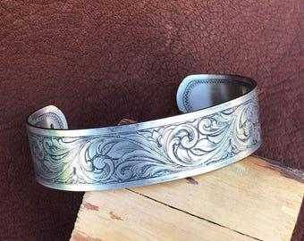 Sterling silver bracelet, hand engraved, patina finish, cuff bracelet