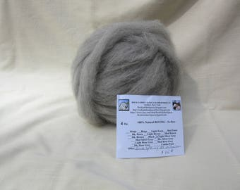 4 oz. Light Silver Grey Alpaca Roving - for Spinning, Nuno Felting or Needlefelting