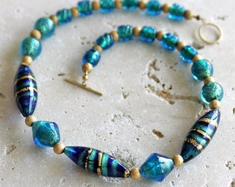 Murano Italian Aqua Glass Beaded Necklace