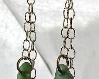 Sea glass earrings, sea glass and chain earrings, siver earring with sea glass, beach glass earrings