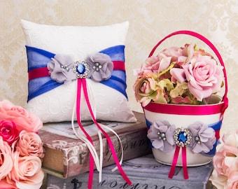 Royal Blue Flower Girl Basket and Ring Bearer Pillow set, Fuchsia Wedding Basket and Pillow Set, Fuchsia and Royal Blue Wedding