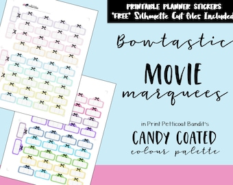 Pastel and Bright Bowtastic Movie Marquees / Printable Planner Movie Marquee / Bow Functional Printable Planner Stickers /Cut Files