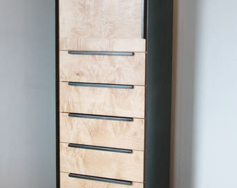 Tall Dresser with Sweater Cabinet  in Salvaged Curly Maple and Blackened Steel