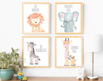 Safari Nursery Wall Art Animal Paintings Baby Animal Prints Animal Watercolor Childrens Wall Art Decor Kids Room Elephant Giraffe Zebra Lion