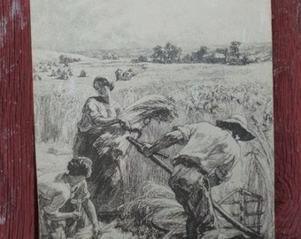 "1970 Poster on  wood ""Harvest Wheat"""