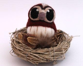 Needle Felted Tawny Owl Felt Mini Bird in Chestnut Brown, Felt Bird, Felt Owl Decoration