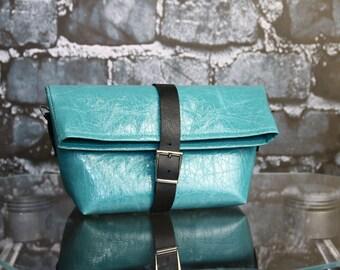 Messenger bag, tote bag, crossbody purse, turqoise ecoleather