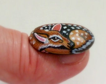 FREE SHIPPING-painted rocks Fairy garden deer gift under 50 DIY terrarium kits miniature animal dollhouse one inch scale ooak whitetail fawn