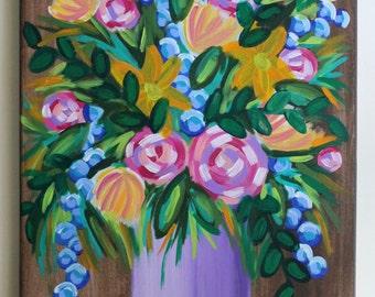 Floral Art, Flower Art, Flower Vase Painting, Bouquet Painting, Roses Art, Floral Painting, Home Decor, Acrylic Painting, 14x18 Canvas