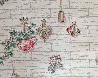 Vintage Wallpaper Roll One Full Roll for Crafting Home Decorating Decoupage 1940s Mid Century Cottage Kitchen