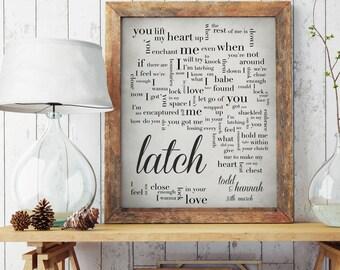 1st Anniversary, Wedding song lyrics, Wedding song print, Anniversary Gift, Wedding Gift- Latch - Disclosure - Sam Smith-Made to Order
