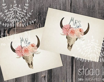 Mr. and Mrs. sign printable, wedding Mr. and Mrs. sign, bohemian wedding printable, rustic wedding sign, INSTANT DOWNLOAD