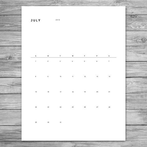 2018 2019 printable minimalist monthly calendar desk