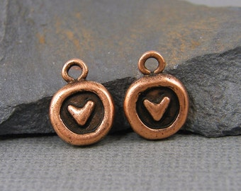 Small Heart Charms Antique Copper Round Heart Charms Mini Heart Charms Small Heart Earring Findings Rustic Small Pendant |NU3-16|2 XN