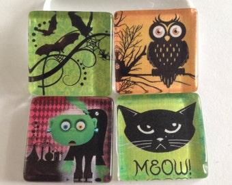 Halloween magnets, Halloween decor, Fridge magnets, Cubicle decor, Office decor, Teacher gift, Locker magnets, Hallow's Eve Glass Magnet Set