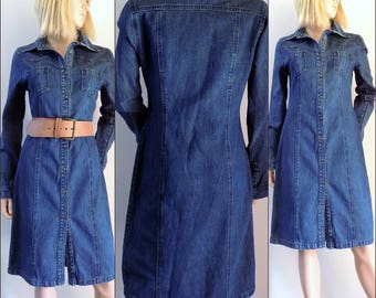 Vintage blue blue denim shirt dress fitted denim dress size small