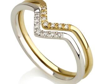 V diamond ring, V ring, stackable ring, V wedding band, V gold ring, V fashion ring, gift for her, pave diamond ring, trendy diamond ring