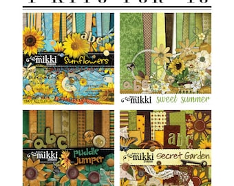 4 kits for ONE price! Digital Scrapbook Kit- Sweet Summer, Sunflowers, Secret Garden and Puddle Jumper