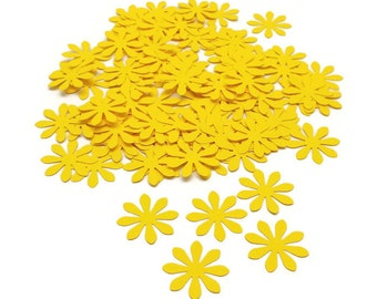 Yellow Flower Confetti, Flower Confetti, Wedding Confetti,  Hand Punched Confetti, Scrapbooking Diecuts, Birthday Party Confetti, 100 Count