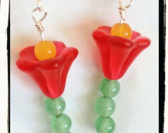 Wearable Tulips That Never Wilt -- Green Aventurine, Yellow Jade and Red Lucite Flowers with Sterling Silver Earrings