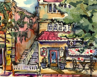Beautiful Painting - Summer Sweet Shop - Original Watercolor and Ink Painting - Candy Shop
